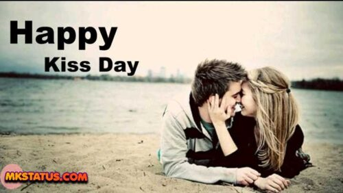 Happy Kiss Day greeting couple kiss images