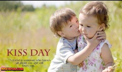 Happy Kiss Day wishing cute romantic little couple pictures
