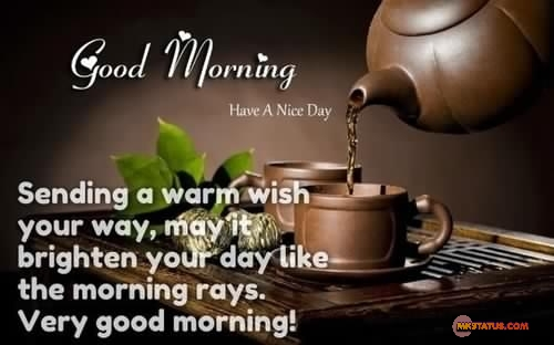Sunday Good morning wishes Quotes in English with Tea Cup background images