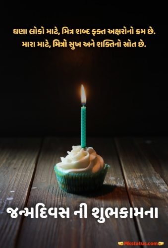 Happy Birthday greeting Quotes images in Gujarati
