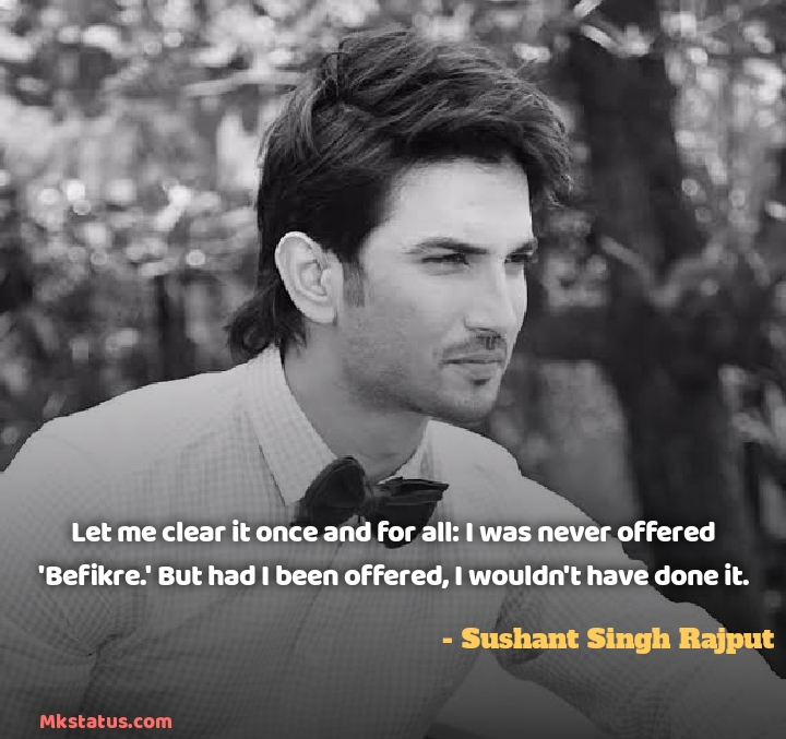 Bollywood Actor Sushant Singh Rajput Quotes images