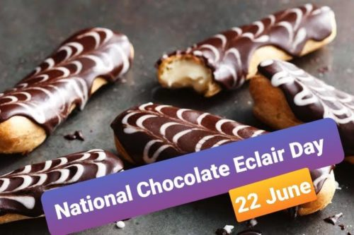 22 June | Happy Chocolate Eclair Day wishes photo