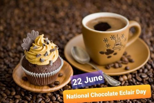National Chocolate Eclair Day greeting images | 22 June